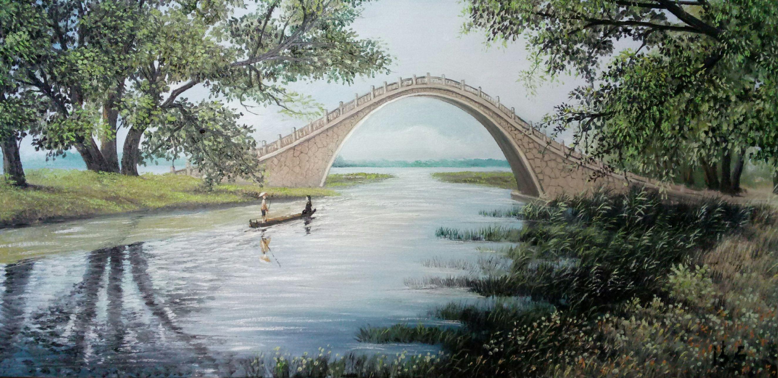 古桥简笔画图片大全