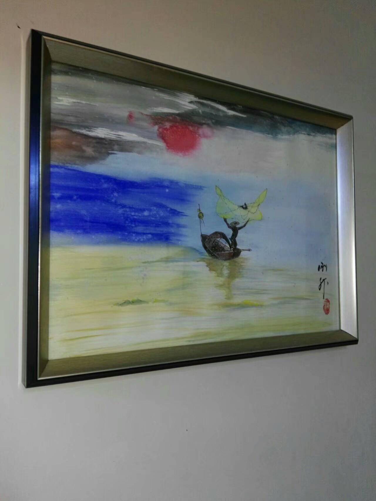 水彩画《网之梦》